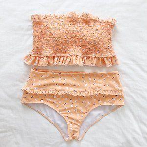 Tangerine Two Piece Strapless Swim Suit L  NWOT